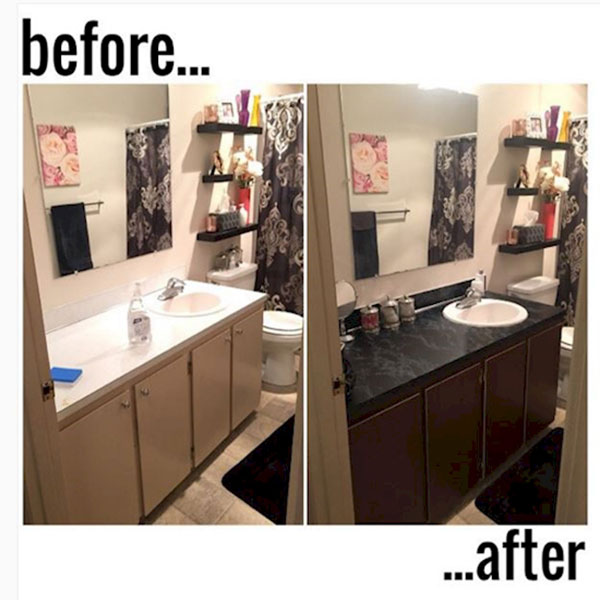 give your bathroom a classy look by adding some high contrast contact paper