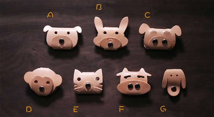 Small Tv Stand Leather Animal Face Headphone Earphone Wrap Winder Cord