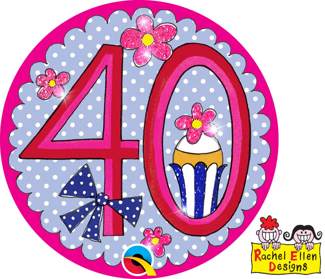 Themafeest 40 Jaar Age 40 Perfect Pink Button