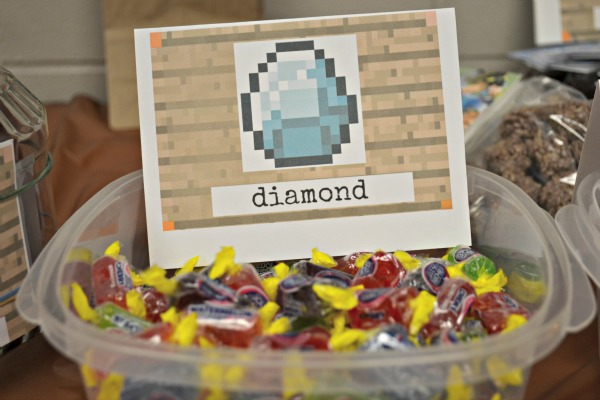 minecraft diamond birthday party treat