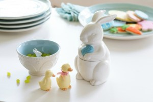 Ducks salt and pepper ceramic shaker set - $9.95 AND eggs and bunny ceramic candy bowl - $14.95 AND bunny ceramic treat jar - $16.95