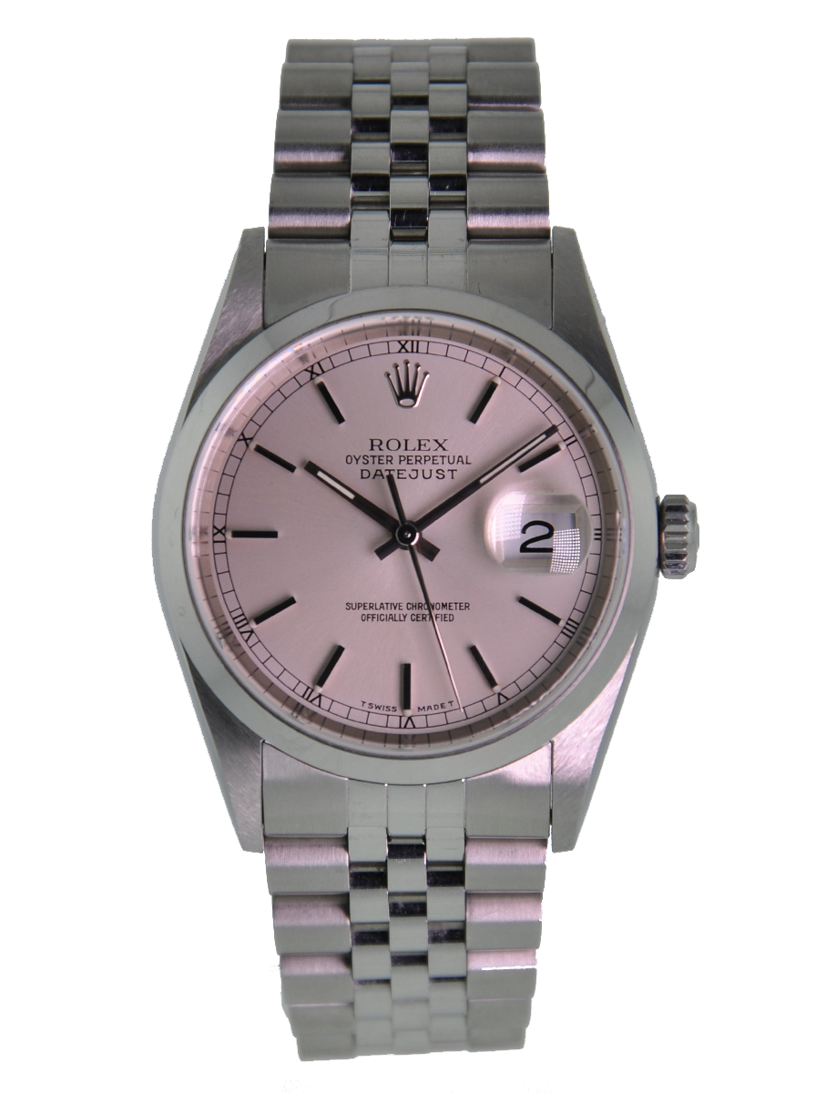 Stainless Rolex Rolex Oyster Perpetual Datejust 36mm Stainless Steel Smooth Bezel Silver Stick Dial Jubilee Bracelet 16200