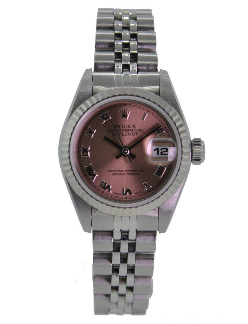 Stainless Rolex Rolex Oyster Perpetual 26mm Datejust Stainless Steel 18kt White Gold Fluted Salmon Roman Dial Jubilee Bracelet 69174