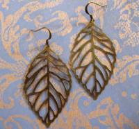 Large brass filigree leaf earrings | Felt