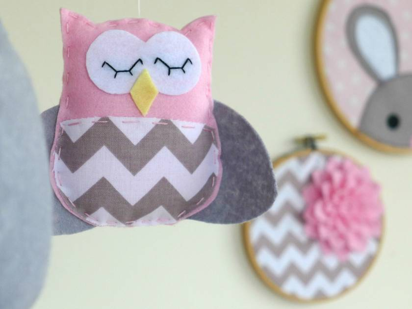 Dreamtime Baby Owls Marshmallow Pink And Grey Felt Baby
