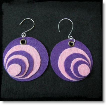 Purple Felt Earring