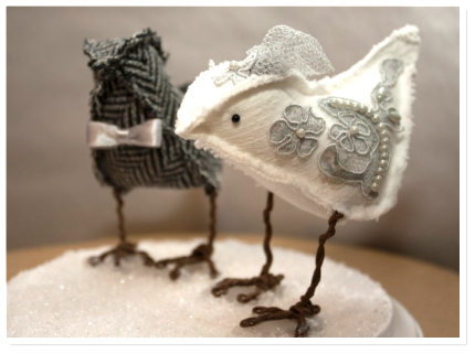 wedding cake bird toppers