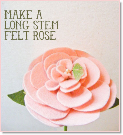 Long Stem Felt Rose