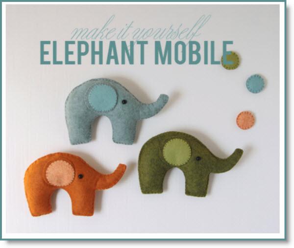 Felt Elephant Mobile
