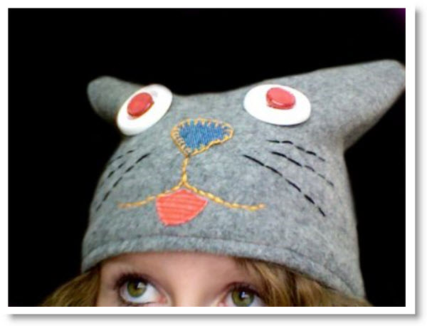 felted sweater cat hat
