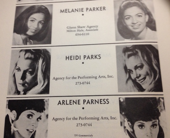 Heidi Parks listed as an actress with the Agency of Performing Arts, Inc.
