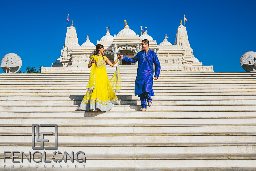 Indian Wedding Pre-Wedding Photos BAPS Shri Swaminarayan Mandir Atlanta