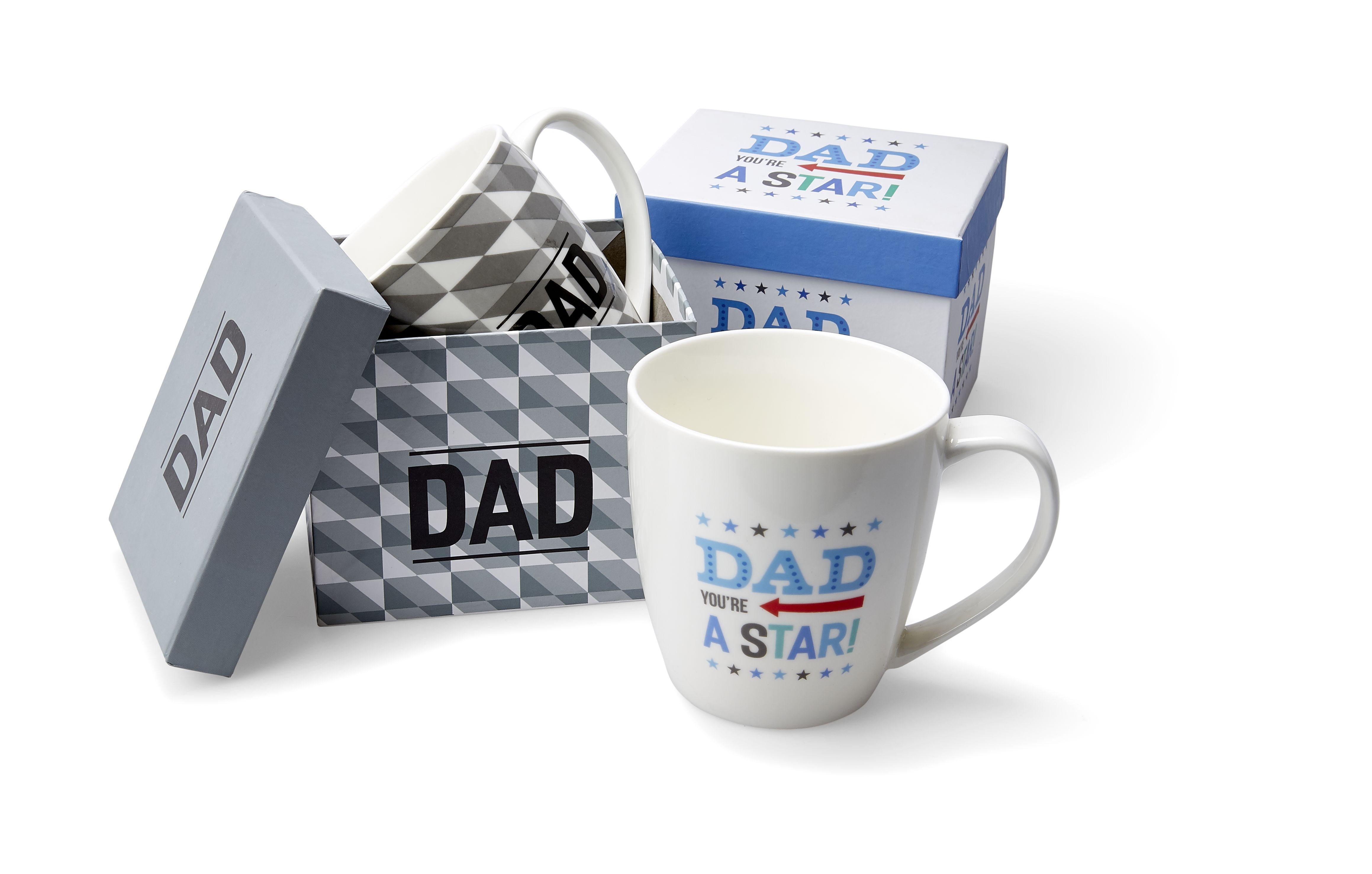 Kmart Dad you're a star mug or Dad mug, RRP$4.00 ea