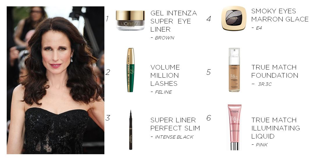 Get Andie's classic glam look with these L'oreal products!