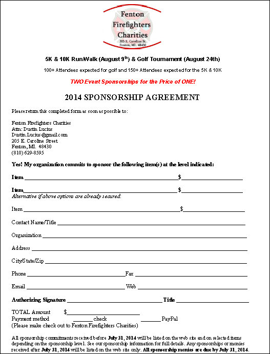 Sponsorship Agreement Template  BesikEightyCo
