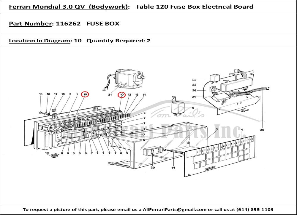 Ferrari part number 116262 FUSE BOX