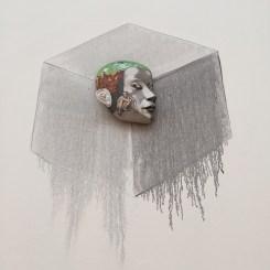 """Sergei Isupov, """"Cornered"""" 2001, porcelain, slip, glaze, 7.5 x 6 x 3""""."""