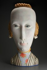 "Sergei Isupov, ""Hair On"" 2006–2015, porcelain, slip, glaze, 36 x 17 x 11""."