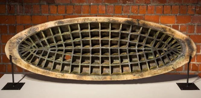 "Peter Christian Johnson, ""Ovoid #3"" 2013, ceramic, glaze, steel, 21.5 x 62 x 7""."