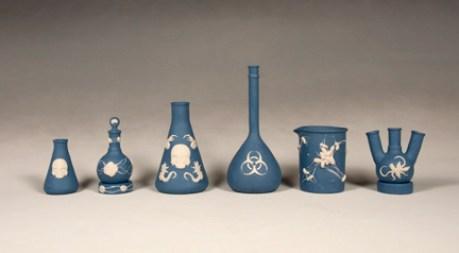 "Daniel Listwan, ""Biohazard Jasperware: Wedgwood Blue Series"" 2013, colored porcelain, tallest: 10""."