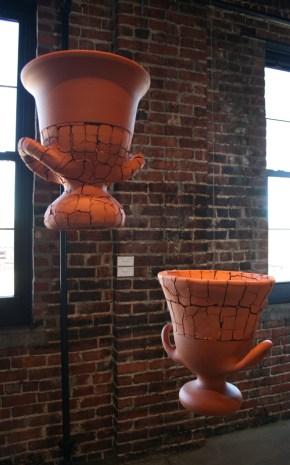 """Adam Shiverdecker, """"Banquet Series: Red Krater 1"""" 2013, stoneware, nichrome, steel, 14 x 12 x 14""""."""