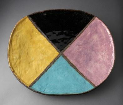 "Jun Kaneko, ""Untitled Platter"" 1982, glaze, stoneware, 25 x 20.5""."