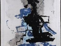 """Peter Voulkos, """"Monoprint"""" 1992, handmade paper, ink, paint, 52 x 42"""" framed."""