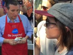 Ellen Page confronts town idiot Ted Cruz at the Iowa state fair