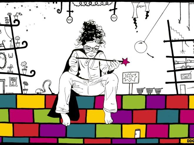 DDOU-Nos enfants ne sont pas des supers héros 1, acrylique, encre de Chine sur toile-100x150cm, 2015-web