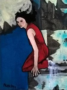 """NUMÉRO 12 """"série Latente"""" - Technique mixte, dessin, collage, huile (40x30cm) 2017"""