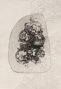 Barbier Coralie-Nébulle 1-gravure eau forte et papier troué-29x20 cm-2015