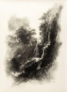 PAYSAGE VERTICAL - Fusain sur papier arches (160*118cm) (2015)