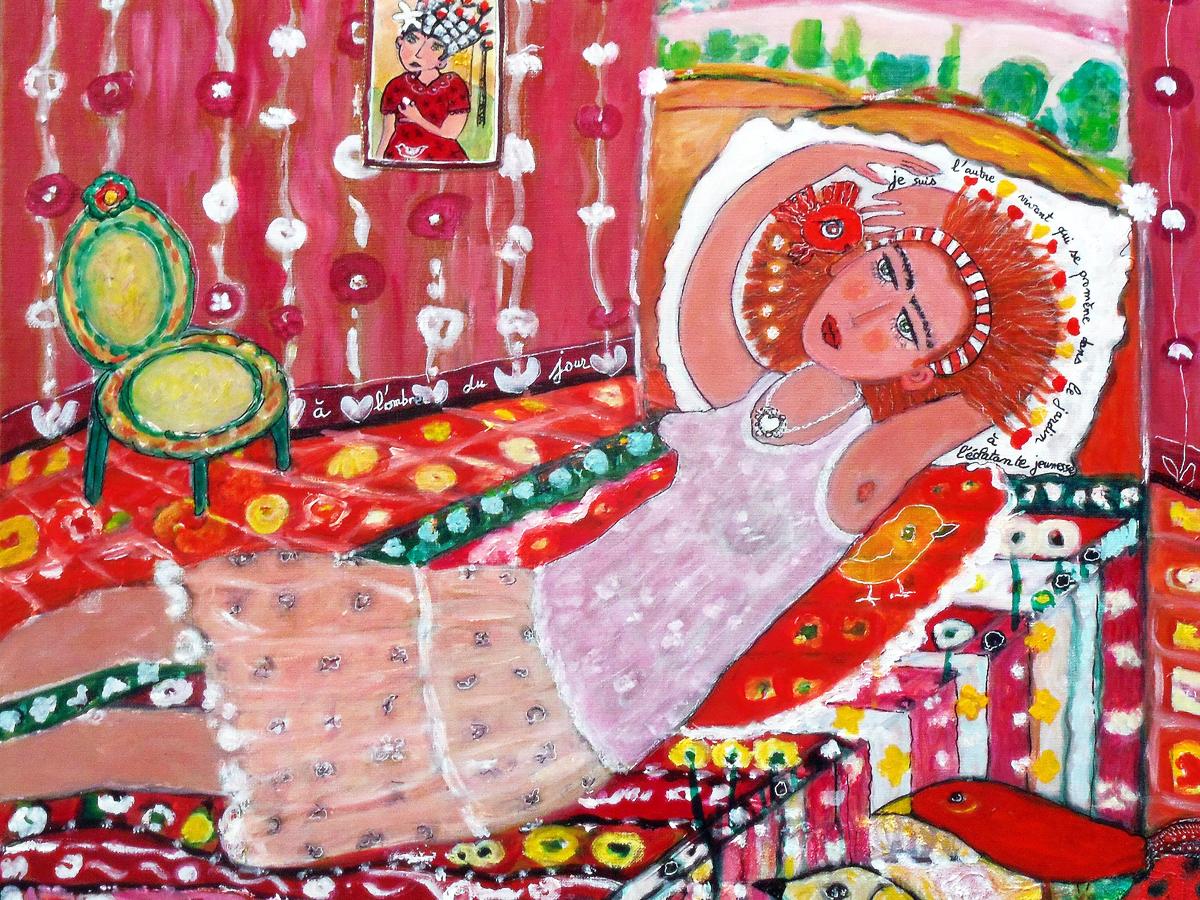 La CHAMBRE ROUGE 2 - Aacrylique, pigments, encre, gravure sur papier et papier collés sur toile (70*70cm) (2016)