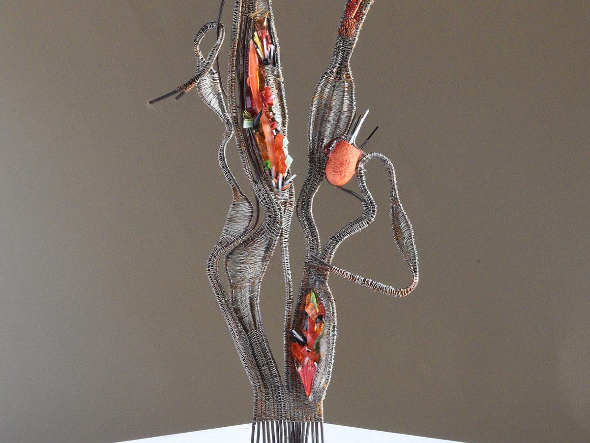 MER ROUGE - Tissage fil de fer et mosaïque de verre (42x20x15cm) 2018