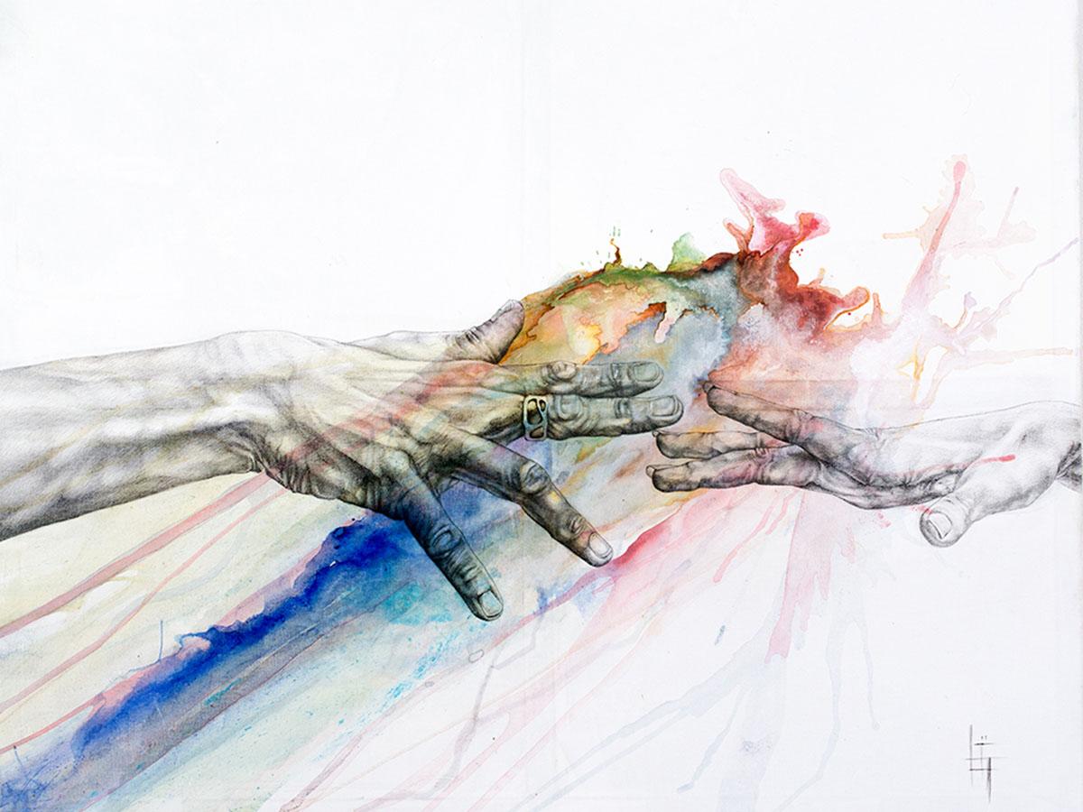 Mains 2 ''des MAINS et des ÉMOTIONS'' Stylo, pigment (100x80cm) 2017