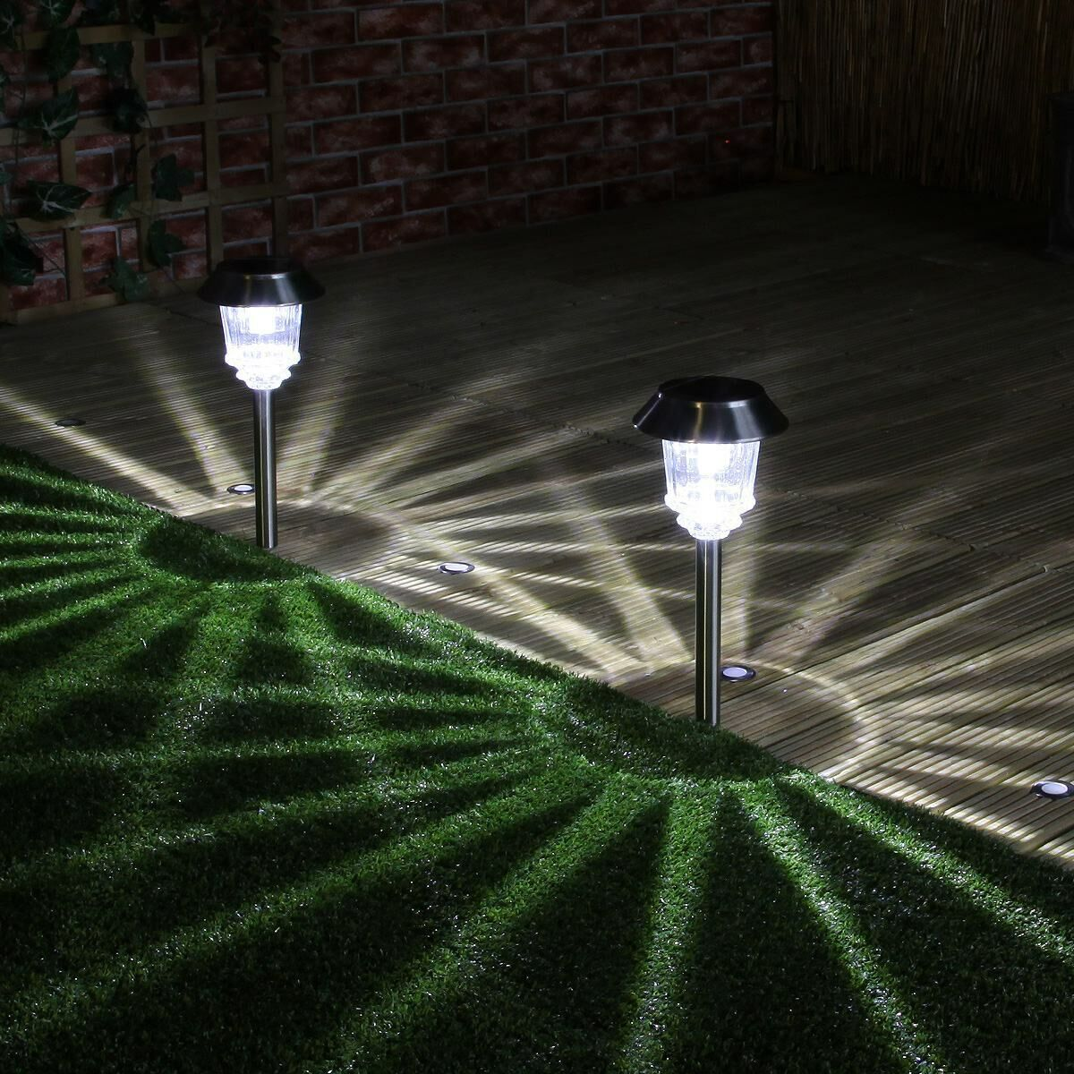 Super Solar Stainless Steel Stake Lights High Power Leds 2 Pack 33cm