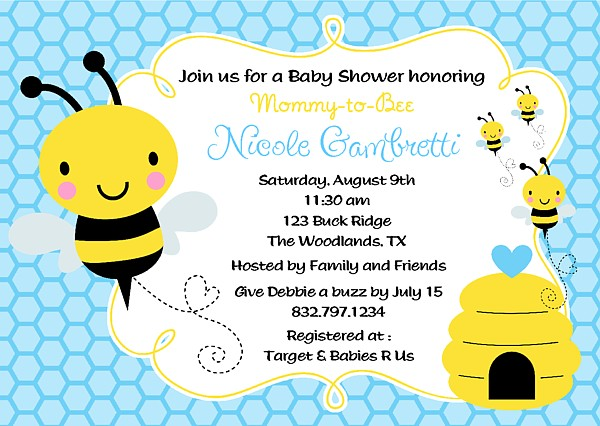 Birthday Background Pink Bumble Bee Baby Shower Invitations | Baby Shower