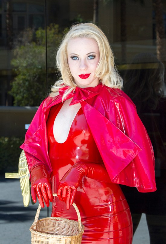 red,tight,latex,dress,gloves