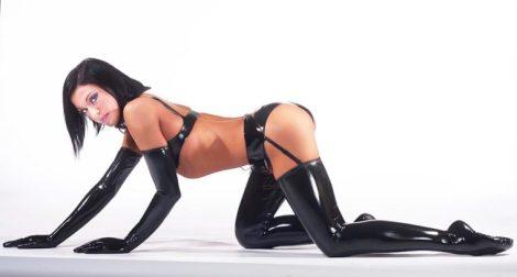 black latex lingerie, gloves, stockings