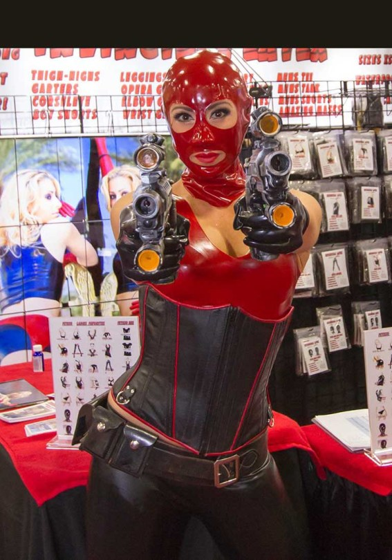 custom red latex mask from Fetisso Rubber Clothing
