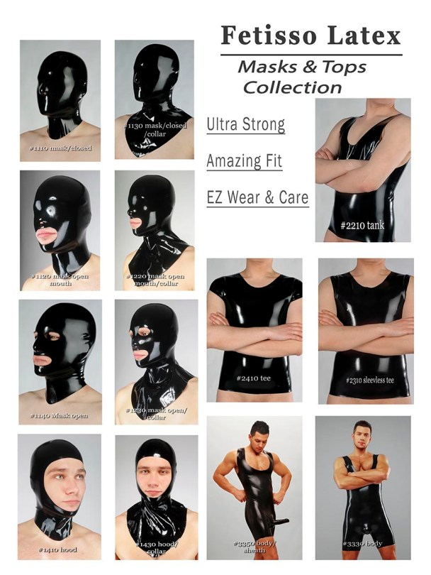 rubber shorts, shirts and masks for men