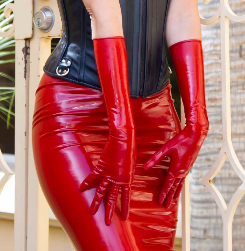 Fetisso fine elbow-length red latex gloves