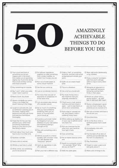 50 Amazingly Achievable Things To Do Before You Die - The Large Format Edition • Fevered Mutterings