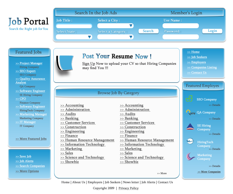 Template For Job Portal Website | Sample Format Of Hr Resume