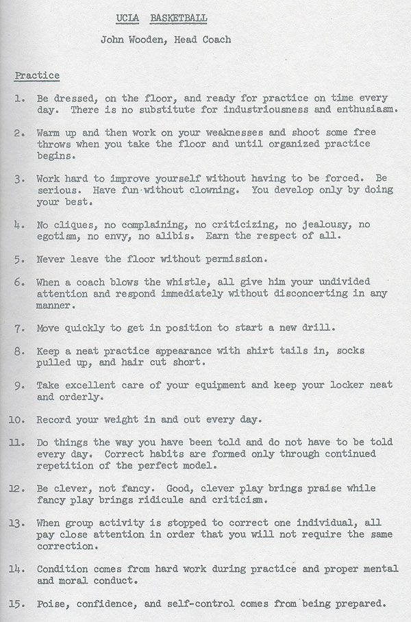 Coach John Wooden and His Two-Hour Practices \u2013 An Example of Deep
