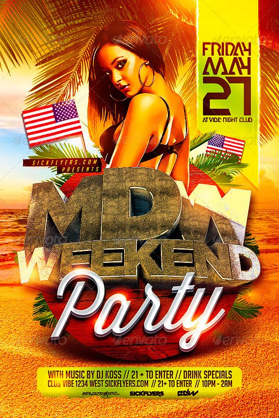 Memorial Day PSD Flyer Template Download best club and party flyers