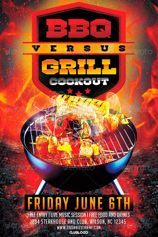 FFFLYER Download Flyer Templates BBQ vs Grill Cookout Flyer - bbq flyer