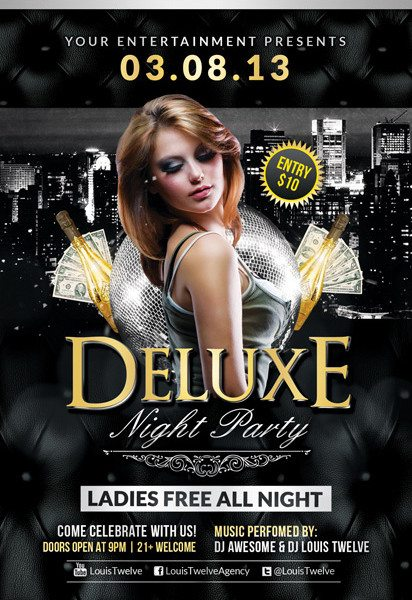 Free Flyer Template Deluxe Night Club PSD Flyer Template