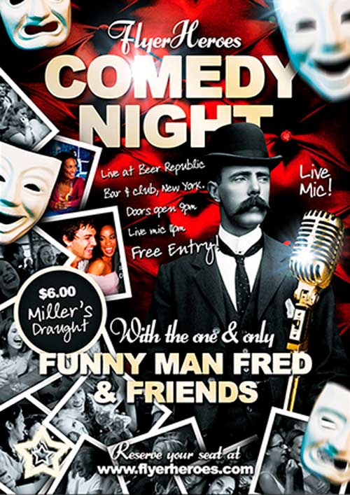 FFFLYER Download Free Flyer Templates for Photoshop - comedy show flyer template