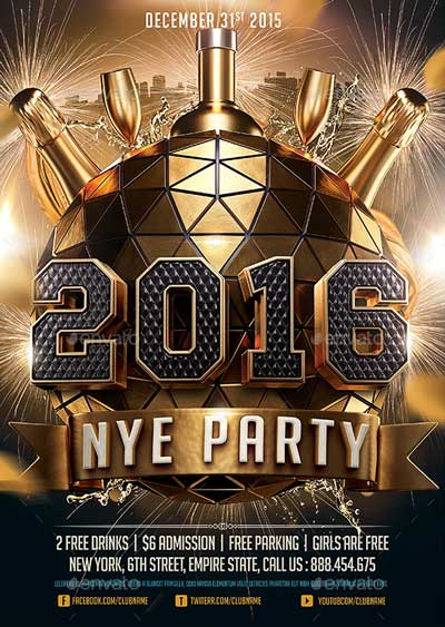 2016 New Years Eve NYE Flyer Template FFFlyer - free new years eve flyer template